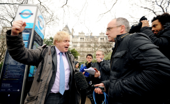 "London's mayor, Boris ""messy-hair"" Johnson, talks to the press about his ambitious plans for cyclists"