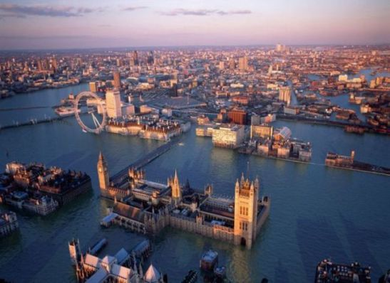London after a 7.2 metres  flood surge, enough to breach the Thames Barrier.  Credit: © Robert Graves and Didier Madoc-Jones.